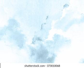 Watercolor background blue white - soft pastel ink splatter texture