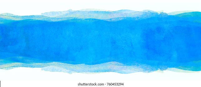 watercolor background multilayer light blue. band horizontal strip. bar for design