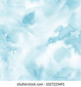 Watercolor background seamless pattern in light blue color