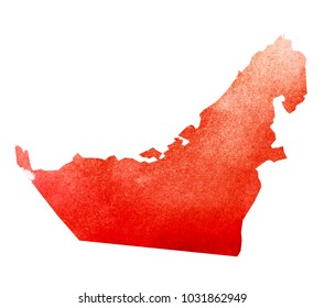 Watercolor background as silhouette. United Arab Emirates