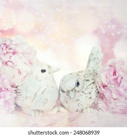 Watercolor background with spring flower