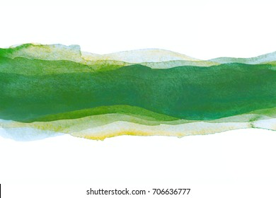 watercolor background stripes green for design. Hand-drawn watercolor splash