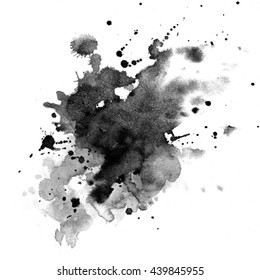 Watercolor background for textures. Abstract watercolor background. Black watercolor stains.