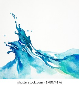 Watercolor background. Water splash isolated on white. Watercolor painting.