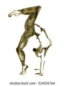Watercolor ballet pose. ballerina in dance.