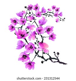 Watercolor beautiful blossoming branch