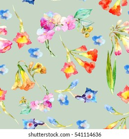 Watercolor  beautiful  colorful spring  flowers seamless pattern.