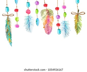 Watercolor beautiful dream catcher design. Hand painted composition over white background