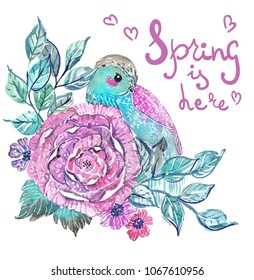Watercolor beautiful floral card with bird. Hand painted illustration