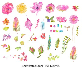 Watercolor beautiful floral design set. Hand painted collection over white background. different kind of branches, flowers,  leaves, feathers and beads