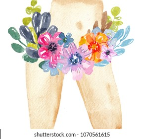 Watercolor beautiful naked woman's legs in flowers. Hand painted illustration for cosmetic, body care, sugarind or epilation design