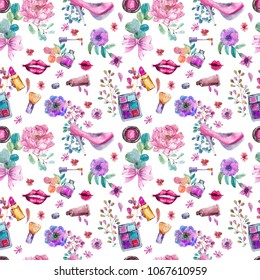 watercolor beautiful pattern with cosmetic objects and floral elements over white, seamless background