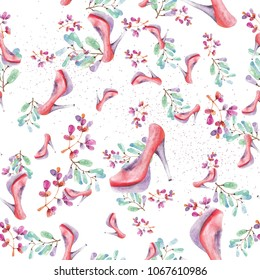 watercolor beautiful pattern with woman red shoes and floral elements, seamless background