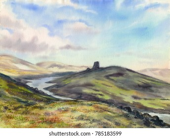 Watercolor: Black stone (Khibiny mountains)