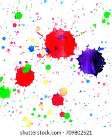 Watercolor blot spray paint art rainbow isolated on a white background