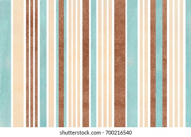 Watercolor blue, beige and brown striped background.