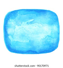 Watercolor blue blank rounded rectangle shape on white background