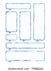 Watercolor blue blank speech bubble dialog with gray lines for notes on white background