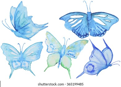 Watercolor blue butterflies set isolated on white. Hand painted watercolor butterflies blue color for making greating cards, invitation design and other art project