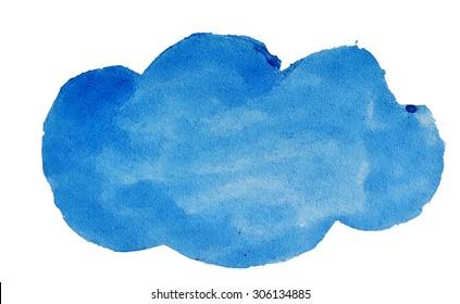 Watercolor blue cloud for design.