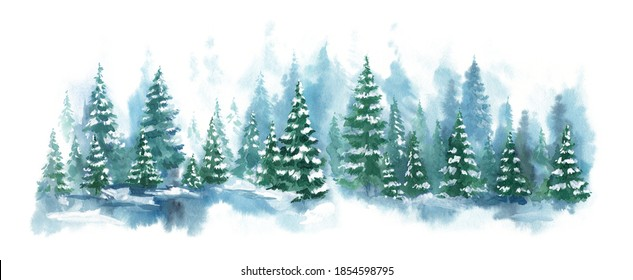 Watercolor Blue landscape of foggy forest hill. Evergreen coniferous trees. Wild nature, frozen, misty, taiga. Horizontal watercolor background. - Shutterstock ID 1854598795
