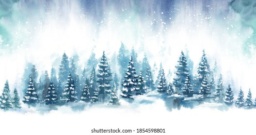 Watercolor Blue landscape of foggy forest hill. Evergreen coniferous trees. Wild nature, frozen, misty, taiga. Horizontal watercolor background. - Shutterstock ID 1854598801