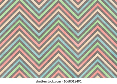 Watercolor blue, pink, beige, green and grey stripes background chevron