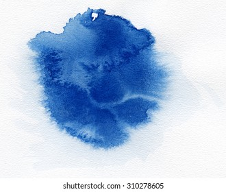 Watercolor. Blue spot on watercolor paper. Abstract blue spot on white background. Ink drop.