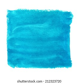 Watercolor blue square paint stain isolated on a white background