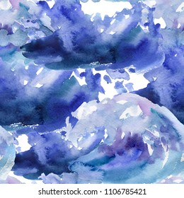 Watercolor blue waves seamless pattern,hand painting background. Watercolor blue wavy brushes,cyan color. Ocean,sea,water artistic texture.Bright design template. Summer Holiday,vacation background.