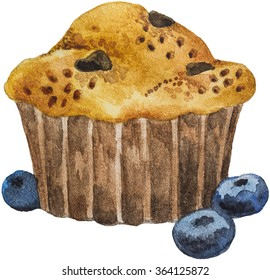 Watercolor Blueberry Muffin