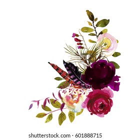 Watercolor Boho Burgundy Magenta White Floral Corner Bouquet Flowers And Feathers Isolated