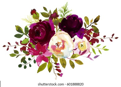 Watercolor Boho Burgundy Red White Floral  Bouquet  Flowers and Feathers Isolated.