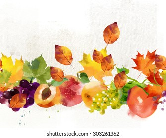 watercolor border of autumn leaves and fruits