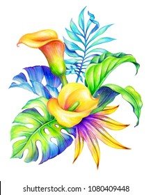 watercolor botanical illustration, colorful tropical flowers, floral arrangement, wild jungle nature, yellow calla lilies, hawaiian paradise flora, palm leaves, clip art isolated on white background
