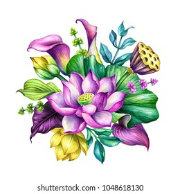 watercolor botanical illustration, tropical floral arrangement, greeting card, exotic flowers, bridal bouquet, oriental garden nature, lotus, calla lily, green leaves, lotos, clip art isolated