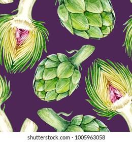 Watercolor Botanical illustration of a vegetable artichoke, vegetarian pattern on a purple background