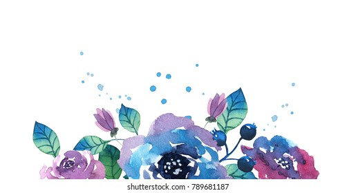 Watercolor bouquet with flowers, leaves and branches. Hand drawn illustration.