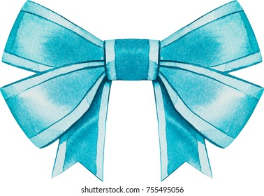 Watercolor bow. Christmas decoration.