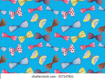 Watercolor bow ties pattern on a blue background