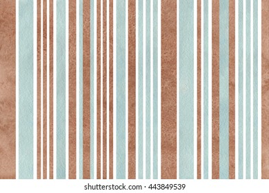 Watercolor brown and blue striped background.