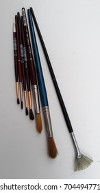 Watercolor brushes on white background