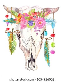 Watercolor bull skull with flowers, beads and feathers over white, beautiful boho style art