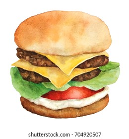 Watercolor Burger with meat and cheese isolated on white background. Fastfood. Double Burger Illustration.