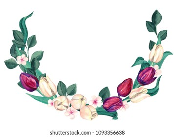 Watercolor Burgundy and Cream Tulips Wreath. Elegant marsala and off-white flowers composition of tulips. Half af a floral wreath.