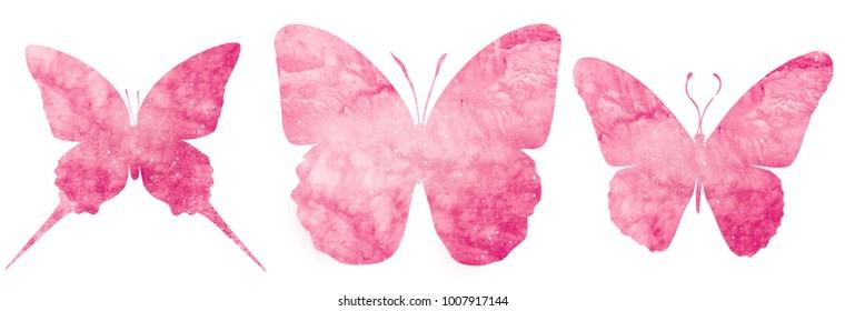 Watercolor butterflies on white