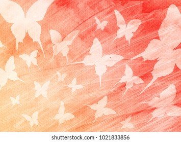 Watercolor butterfly abstract background