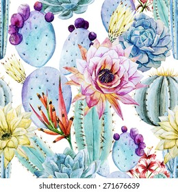 watercolor, cactus, pattern, flowers, prickly, pattern, background
