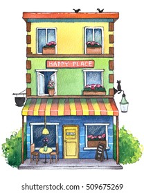 Watercolor Cafe House