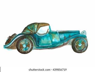 watercolor car